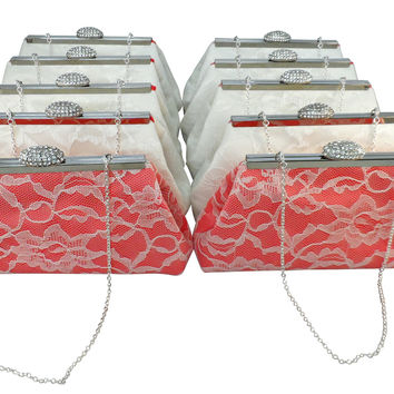 Set of Ten Calypso Coral and Ivory Bridesmaid Gift Clutches 10% Off