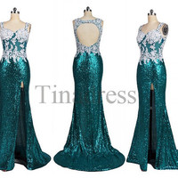 Custom Applique Beaded Sequins Lace Long Prom Dresses Backless Mermaid Evening Gowns Formal Party Dresses Wedding Party Dress Formal Wear