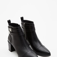 Strapped Faux Leather Booties