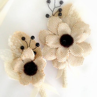 Groom and Groomsmen Boutonniere , Burlap and Black Eyed Susans, Lace,  Farm Wedding, Spring, Summer, Rustic, Brown, Ivory , Black (2)