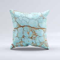 Cracked Teal Stone 2 ink-Fuzed Decorative Throw Pillow