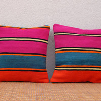 SET OF TWO 16'' X 16'' Pink & Orange Colored pair of Fine  kilim pillow Set wool,Living room pillow set,sofa pillow,Decorative cushion cover