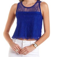 Neon Cobalt Sleeveless Lace Crop Top by Charlotte Russe