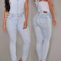 Light Blue Criss-Cross Denim Overalls