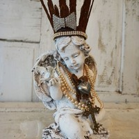 Angel w/ bird statue French Santos inspired handmade crown adorned angelic figure shabby cottage chic home decor Anita Spero Design
