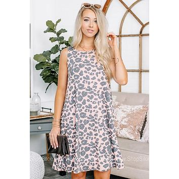 Keep You Blushing Cheetah Print Swing Dress