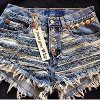 RIP IT UP High waisted denim shorts Studded super frayed with and studs all sizes.