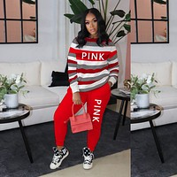 PINK Victoria's secret Women Casual Multicolor Letter Pattern Print Long Sleeve Trousers Set Two-Piece