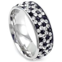 Alex's Collection Stainless Steel White Gold Black & Clear CZ Unisex Eternity Wedding Band