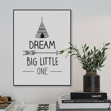 Modern Black White Dream Big Motivation Quotes A4 Art Print Poster Wall Picture Canvas Paintings Nordic Kids Room Decor No Frame