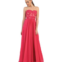 Fuchsia Lace Bodice Strapless Sweetheart Dress 2015 Prom Dresses