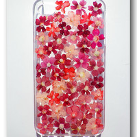 Handmade iPhone 4/4s case, Resin with Dried Flowers, Verbena hybrida ( 06 )
