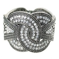 Love Knot Silvertone Vintage-style Designer Hinged Bangel Bracelet with Faceted Hematite Crystals 1.92 Inches Wide: Jewelry: Amazon.com