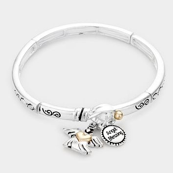 Angel Blessing Charm Metal Message Stretch Bracelet