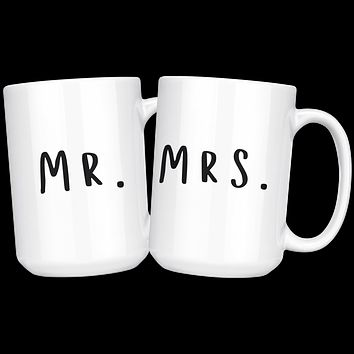 Mr and Mrs His and Hers Coffee Mug Set, Couples Coffee Cups, Wedding or Anniversary Gift, Gift for Husband and Wife