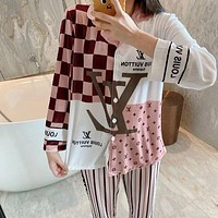 LV Louis Vuitton Fashion Women Long Sleeve Shirt Pants Two-Piece