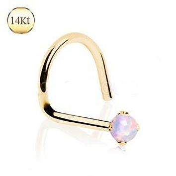 14Kt Yellow Gold Nose Screw with Prong Set Opalite