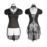 Punk rave Rock Gothic Swallow Tail Steampunk Party Fashion Casual Arwen Lace Women Tee Shirt Free Shipping