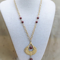 Vintage Tribal Necklace In Gold Tone With Maroon Accent Beads