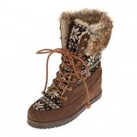 Brown Nordic Fuz Lace Boots