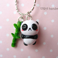 Kawaii sleeping panda and bamboo necklace