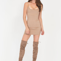 Simply Won Faux Suede Minidress