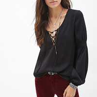FOREVER 21 Lace-Up Peasant Blouse