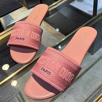 Dior Women Men Fashion Flats Sandals Slipper Shoes