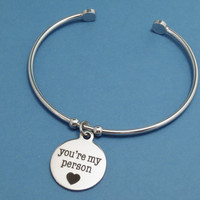 You're my person, You are my person, Bracelet, Bangle, Grey's Anatomy, Silver, Gift, Jewelry