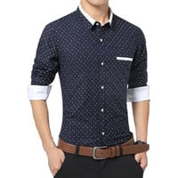 Size M-5XL Men's Fashion Clothing Dark Blue Polka Dot Wedding Dress Shirts Long Sleeve Business Formal Shirts Casual Shirt Slim