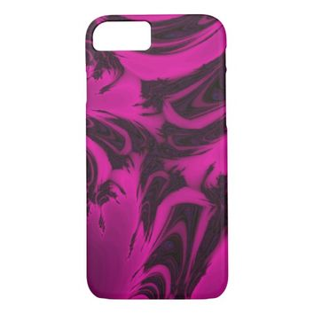 Pink and black fractal iPhone 7 case