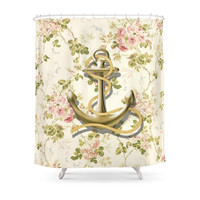 Society6 Romantic Vintage Anchor Shabby Chic Floral Shower Curtains