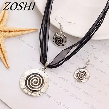 ZOSHI Fashion Jewelry Set Black Rope Chian Round Pendants & Necklaces Drop Earrings For Women Set Wedding Boho Jewelry Sets