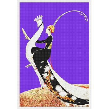 Art Deco Peacock Vogue Magazine Cover Helen Dryden  Counted Cross Stitch Pattern