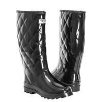 Women's Quilted Waterproof Rubber Rain Boots * Tall Mid-Calf Wellies Boots