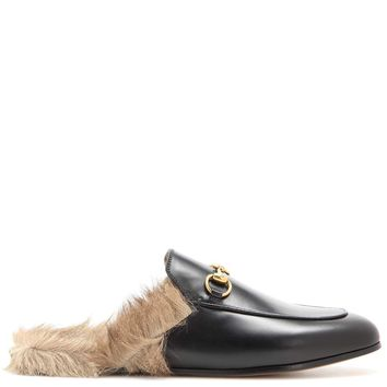 Fur-lined leather slippers