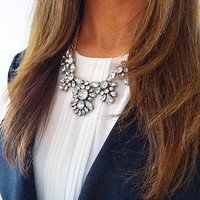 LIfestyle Gold metal and Intricate crystal Statement Necklace