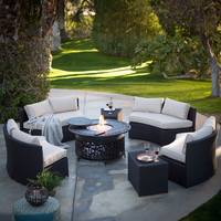 Outdoor Wicker Resin Patio Furniture Conversation Set with Beige Cushions and Fire Pit