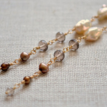 Long Smoky Quartz Earrings, Gold Filled Jewelry, Brown Gemstone, Freshwater Keshi Pearl, Wire Wrapped, Free Shipping