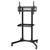 Sturdy Rolling TV Stand Trolley Cart with Shelf for Flat Screen TVs 32 to 55-inch