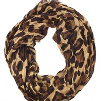 Classic Cheetah Print Infinity Scarf Camel at Prima donna