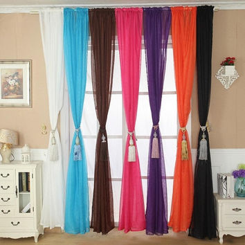 Solid Color Tulle Door Window Curtain Cooling Drape Panel Sheer Scarf Valance = 1958053828