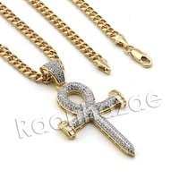 Lab diamond Micro Pave 2Pac Nail Ankh Cross Pendant w/ Miami Cuban Chain BR100