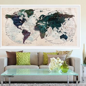 XL Poster Push Pin World Map travel Art Print Photo Paper watercolor Green Old Wall Decor Home (frame is not included)(P04)FREE Shipping USA