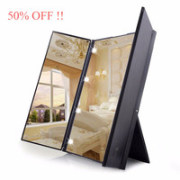 Tri-Fold Makeup Mirror with LED Light Portable Travel Compact Pocket Mirror LED Makeup Mirror Travel Fold Cosmetic Mirror