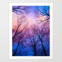 A New Day Will Dawn (Day Tree Silhouettes) Art Print by soaringanchordesigns