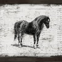 "Handmade wooden horse sign framed in black distressed frame. Approx. 13""x19""x2""."