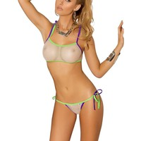 Vivace EM-8928 Fishnet bikini top and matching g-string with multi trim