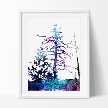Forest Watercolor Painting, Watercolor Art, Forest Painting, Watercolor Art Print, Abstract Watercolor, Forest Gift Poster (257)