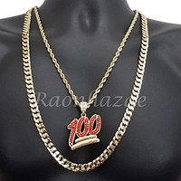 "EMOJI RED 100 ROPE CHAIN DIAMOND CUT 30"" CUBAN CHAIN NECKLACE SET G30"